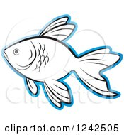 Clipart Of A Black And White Fish Outlined In Blue Royalty Free Vector Illustration by Lal Perera
