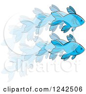 Clipart Of A Leaping Blue Fish In Action Royalty Free Vector Illustration by Lal Perera