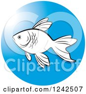 Clipart Of A Black And White Fish In A Blue Circle Royalty Free Vector Illustration by Lal Perera