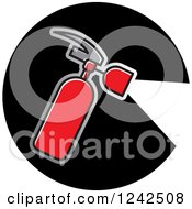 Clipart Of A Red Fire Extinguisher Spraying In A Black Circle Royalty Free Vector Illustration by Lal Perera