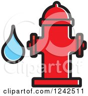 Clipart Of A Red Fire Hydrant And Water Drop Royalty Free Vector Illustration