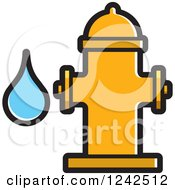 Clipart Of A Yellow Fire Hydrant And Water Drop Royalty Free Vector Illustration