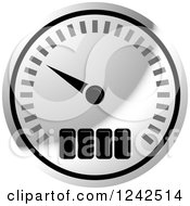 Clipart Of A Silver Dash Board Speedometer Royalty Free Vector Illustration