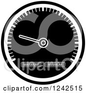 Clipart Of A Grayscale Dash Board Speedometer Royalty Free Vector Illustration