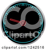 Clipart Of A Round Black And Blue Dash Board Speedometer Royalty Free Vector Illustration