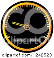 Clipart Of A Round Black And Orange Dash Board Speedometer Royalty Free Vector Illustration