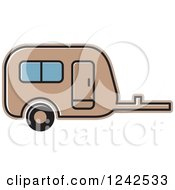 Clipart Of A Brown Caravan Camper Trailer Royalty Free Vector Illustration