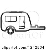 Clipart Of A Black And White Caravan Camper Trailer Royalty Free Vector Illustration