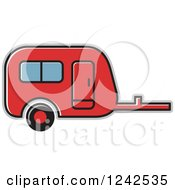 Clipart Of A Red Caravan Camper Trailer Royalty Free Vector Illustration