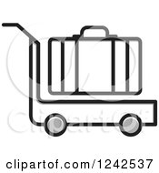 Clipart Of A Luggage Cart And Suitcase Royalty Free Vector Illustration