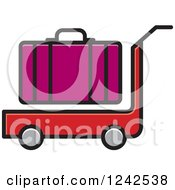 Clipart Of A Red Luggage Cart And Purple Suitcase Royalty Free Vector Illustration