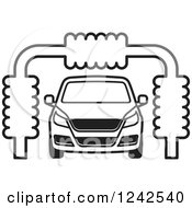 Clipart Of A BAck And White Automobile In A Car Wash Royalty Free Vector Illustration