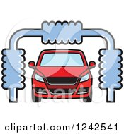 Clipart Of A Red Automobile In A Car Wash Royalty Free Vector Illustration