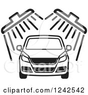 Clipart Of A BAck And White Automobile In A Car Wash 2 Royalty Free Vector Illustration