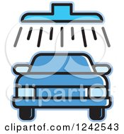 Clipart Of A Blue Automobile In A Car Wash Royalty Free Vector Illustration