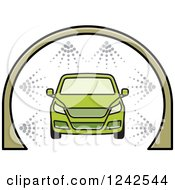 Clipart Of A Green Automobile In A Car Wash Royalty Free Vector Illustration