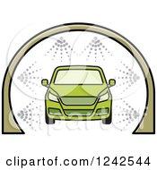 Green Automobile In A Car Wash