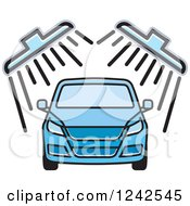 Clipart Of A Blue Automobile In A Car Wash 2 Royalty Free Vector Illustration