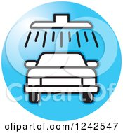 Clipart Of A Black And White Automobile In A Car Wash Over A Blue Circle Royalty Free Vector Illustration