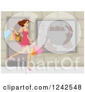 Clipart Of A Happy Caucasian Woman Carrying Shopping Bags By A Store Royalty Free Vector Illustration