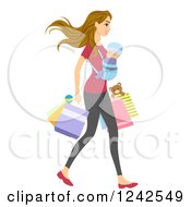 Clipart Of A Young Mom Shopping With Her Baby On Her Chest Royalty Free Vector Illustration by BNP Design Studio