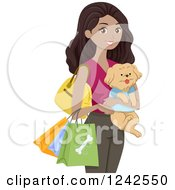 Happy Black Woman Carrying A Dog And Shopping Bags Of Pet Supplies
