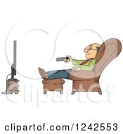 Clipart Of A Senior Man Watching Tv In A Chair Royalty Free Vector Illustration