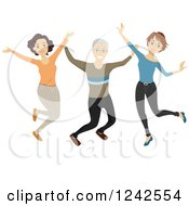 Clipart Of A Happy Senior Man And Women Jumping Royalty Free Vector Illustration