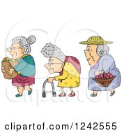 Clipart Of Senior Ladies With Groceries A Walker And Basket Of Flowers Royalty Free Vector Illustration