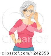 Happy Caucasian Senior Woman Touching Her Eyeglasses