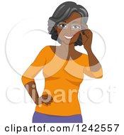 Happy African American Senior Woman Touching Her Eyeglasses