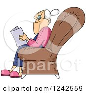 Clipart Of A Senior Lady Reading A Book In A Chair Royalty Free Vector Illustration