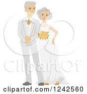 Clipart Of A Happy Caucasian Newlywed Couple Royalty Free Vector Illustration