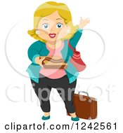 Clipart Of A Happy Chubby Blond Grandma Waving Royalty Free Vector Illustration