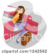 Clipart Of A Young Woman Exiting A Convertible Car With Luggage Royalty Free Vector Illustration
