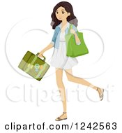 Clipart Of A Young Brunette Woman Carrying A Bag And Suitcase Royalty Free Vector Illustration