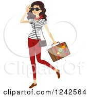 Clipart Of A Stylish Woman Carrying A Suitcase Royalty Free Vector Illustration