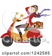 Clipart Of A Young Woman Driving A Scooter With A Suitcase On The Back Royalty Free Vector Illustration
