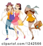 Clipart Of A Trio Of Diverse Teen Girls Going On A Trip Royalty Free Vector Illustration