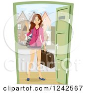 Clipart Of A Young Woman With Luggage Waving Hello At A Dor Royalty Free Vector Illustration
