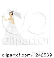 Clipart Of A Bride Holding An Umbrella And A Hand Out Royalty Free Vector Illustration by BNP Design Studio