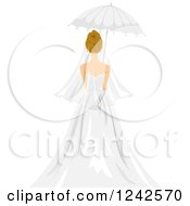 Clipart Of A Rear View Of A Bride With A Parasol Umbrella Royalty Free Vector Illustration