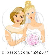 Clipart Of A Blond Caucasian Bride And Her Mother Royalty Free Vector Illustration