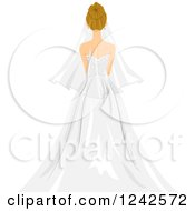 Clipart Of A Rear View Of A Blond Bride Royalty Free Vector Illustration