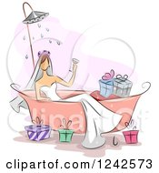 Clipart Of A Bridal Shower Of A Woman In A Tub With Gifts Royalty Free Vector Illustration by BNP Design Studio
