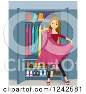 Clipart Of A Teenage Girl Holding A Sparkly Pink Dress In Front Of A Closet Royalty Free Vector Illustration