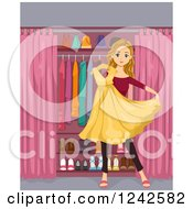 Clipart Of A Teenage Girl Holding A Sparkly Yellow Dress In Front Of A Closet Royalty Free Vector Illustration by BNP Design Studio