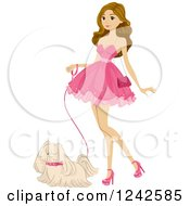 Young Woman Wearing A Pink Dress And Walking Her Dog