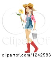 Teenage Farmer Girl Holding A Sunflower And Carrying A Bucket