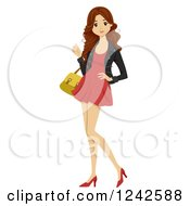 Clipart Of A Young Woman In A Short Red Dress And Heels Royalty Free Vector Illustration by BNP Design Studio